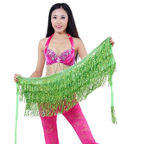 YSHTAN Dance buikdans andere sportuitrusting Hip sjaal buik dans danser kostuum pailletten kwasten franjes Hip sjaal riem taille rok - gras groen