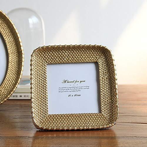 DIAZ Bruiloft Fotolijst Goud Zilver Vierkant Creatieve Hars Fotolijst Geometrische Stereo Fotolijst Studio Studie Decoratie Tafel, goud 4 inch