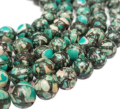 Perlin Edelstein Strang Türkis Mosaik Steine Edelsteine Perlen Blau Perle mit Loch zum auffädeln Schmuckperlen Schmuckstein Perlenstrang (8mm Rund)