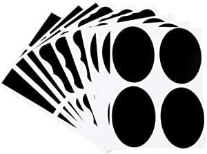 Aiming 9pcs Oval Square Black Sticker Removable PVC Writing Adhesive Cup Bottle Decals Kitchen Supplies