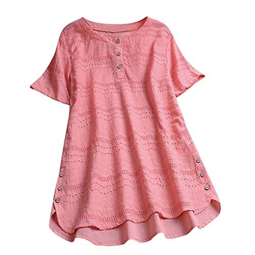 Yowablo Blusen Damen Einfarbig Ausgehöhlter Knopf Rundkragen T-Shirt Kurzarm Top ( XXL,2rosa )