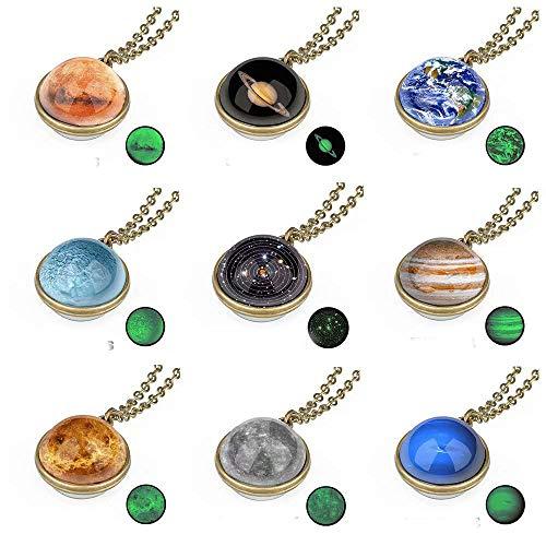 9er Pack Galaxy Anhänger Halskette Sonnensystem Universum Glas Schmuck Nebel Weltraum Kosmos Weltraum Planet Schmuck Valentinstag Liebesgeschenk