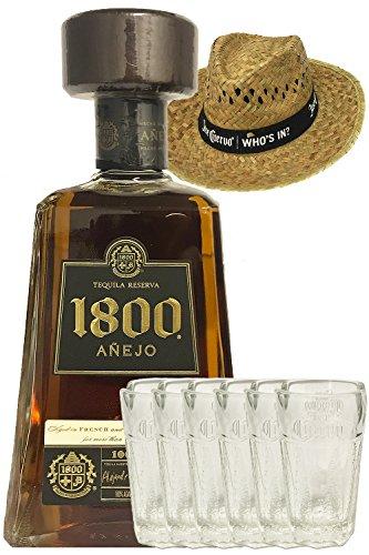 1800 Jose Cuervo Tequila Anejo 0,7 Liter + Jose Cuervo Shot Glas - 6 Stück + Jose Cuervo Strohhut (Who`s in) 1 Stück
