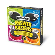 Learning Resources Recordable Answer Buzzers, Personalized Sound Buzzers, Talking Button, Set of 4, Ages 3+