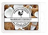 Farm Raised Candles - Mahogany Coconut - 100% Plant Based All Natural American Soy Wax Melts - Scented Warmer Cubes Blended with Essential Oils.