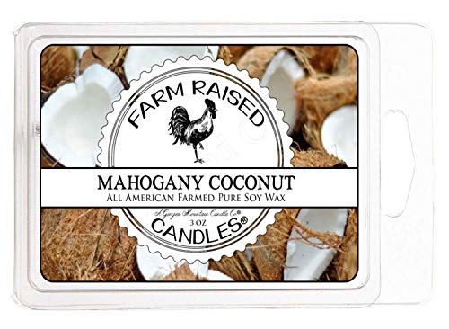 Mahogany Coconut 100% Soy Scented Wax Melts 6 Cubes 3 Ounces 100% All Natural American Soy Wax. Blended with Essential Oil Scented Warmer Cubes.