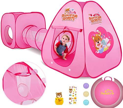 Peradix Tienda Campaña para Niños con túnel de casa de Juegos y Bolsa de Tienda Tienda de campaña emergente 3 en 1, Tienda de Princesa para niños, niñas, hogar y jardín(Rosado)