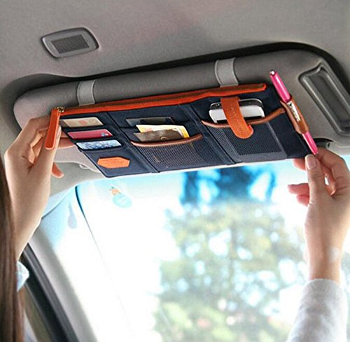 Multi-functional Auto Car Clip Sunvisor Car Storage Bag CD Hanging Storage Bag Organization (Dark Blue)