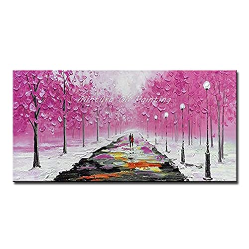 Living Equipment Hand Painted Oil Painting On Canvas,Palette Knife Pink Trees Romantic Couple Oil Paintings On Canvas Modern Abstract Wall Decorative Picture Art For Living Room Bedroom Hotel Home