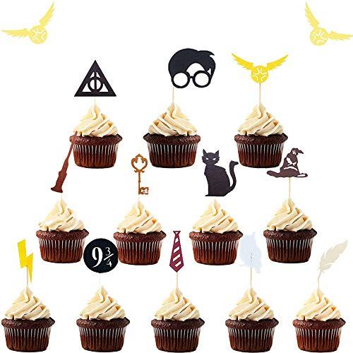 JeVenis Lot de 15 décorations de cupcakes inspirées de sorcier pour décoration de gâteau sorcier Thème sorcier pour décoration de fête de sorcier, fournitures de fête d'anniversaire