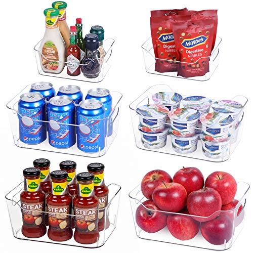 Set Of 6 Refrigerator Organizer Bins - Fridge Organizer Clear Storage Bins Plastic Refrigerator Storage Bins with Handle for Kitchen Pantry, Cabinet, BPA-Free Freezer Organizer Bins(4 Large & 2 Small)