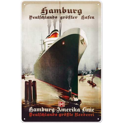 Nostalgic-Art Retro Blechschild Hamburg – Deutschlands größter Hafen – Geschenk-Idee & Souvenir, aus Metall, Vintage-Dekoration, 20 x 30 cm