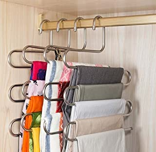 Pindia 1Pc 'S' Shape Stainless Steel 5 Layer Pant Hanger, Cupboard Organiser Space Saving Hanger