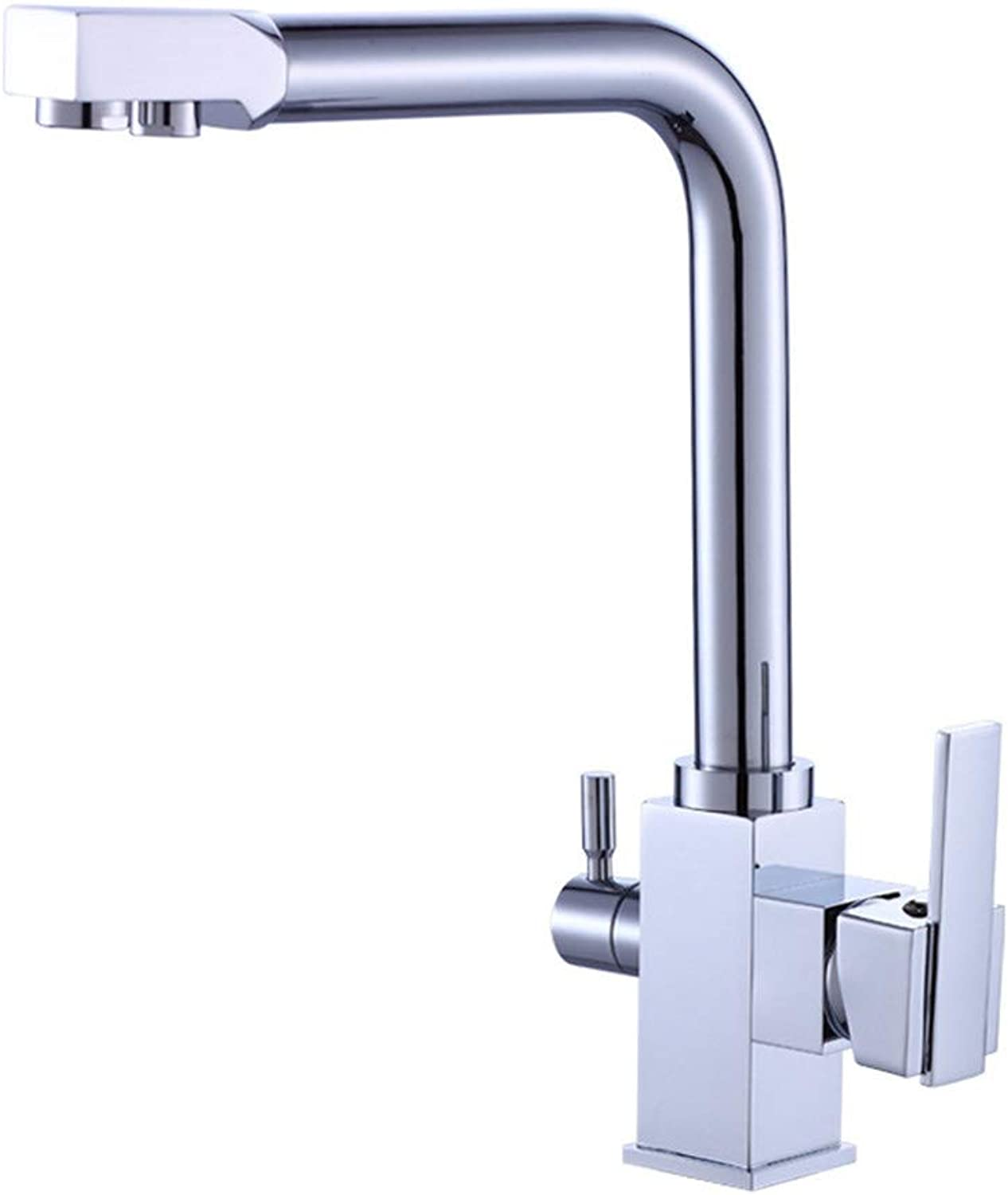 3 Way Kitchen Sink Tap Drinking Water Filter Tap Polished Chrome Finished Lead Free Solid Brass Construction Swivel Spout Dual Levers Faucet