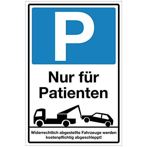 Wandkings Hinweisschild - Parkplatz Nur für Patienten! - stabile Aluminium Verbundplatte - Wähle eine Größe - 40x30 cm