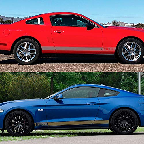 MVMTVT 2PCS Racing Car Door Side Skirt Long Stripe Stickers for Ford Mustang GT500 Vinyl Decals Graphic Auto Body Decor Car Accessories