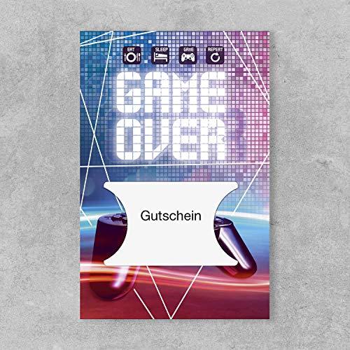 PremiumLine Gutscheinkarte 1 Stück inkl. Briefumschlag Game Over Grußkarte 11,5 x 17,5 cm gestanzt für Gutscheinkarten