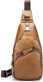 Men's Leather Bag - Multi-function Travel Crossbody Bag, Wild Leather Chest Bag Shoulder Bag Waterproof Crossbody Bag