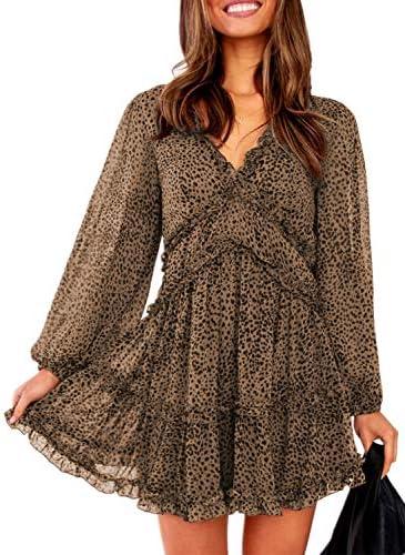 Eytino Women Sexy V Neck Long Sleeve Open Back Printed Mini Short Dresses Large Leopard product image