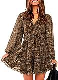 Eytino Women Sexy V Neck Long Sleeve Open Back Printed Mini Short Dresses,Large Leopard