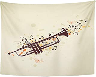 Tapices decorativos Tapestry Wall Hanging Instrument Music Abstract with Trumpet and Notes Jazz Horn Melody Bugle Sound Black 60