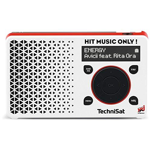 TechniSat Digitradio 1 Energy-Edition portables DAB Radio (klein, tragbar, mit Lautsprecher, DAB+, UKW, Favoritenspeicher, Direktwahltaste zu Energy, 1 Watt RMS) weiß/rot