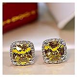 WWWL Aretes, Trendy Stud Pendientes Real 925 Esterling Silver Lab Diamond Party Pendientes de Boda Joyería para Mujeres Joyería de Compromiso (Gem Color : Yellow)