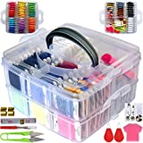 188 Embroidery Floss Set Including Cross Stitch Threads Friendship Bracelet String with 2-Tier Transparent Box, Floss Bobbins and Cross Stitch Kits