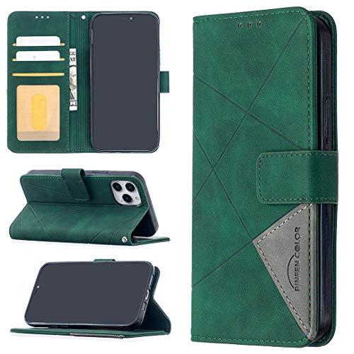 GUOQING Funda de piel sintética para iPhone 12, multifunción, con función atril, plegable, color verde