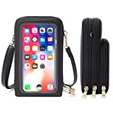 WINYU Touch Screen Crossbody Cellphone Pouch Bag, Women PU Leather Shoulder Bag Purse Wallet Bags, Multi-Functional Clear Window Wallet Case with Strap Card Slots- Fits Phone Under 6.5 Inch (Black)