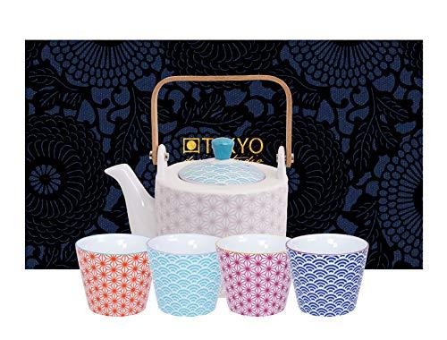 TOKYO design studio Star Wave theeset kleurrijk, 5-TLG, 1 theepot 0,8 l en 4 x theekopjes 180 ml, Aziatisch porselein, Japans design, incl. geschenkverpakking
