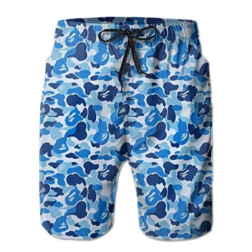 Jiger Men's Swim Trunks Bape Camouflage Blue Casual Sportswear Quick Dry Beach Shorts for Boys Summer L