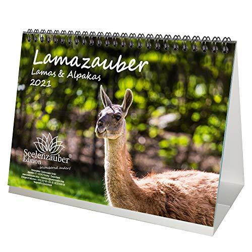 Lamazauber DIN A5 Tischkalender für 2021 Lama Alpaka - Geschenkset Inhalt: 1x Kalender, 1x Weihnachts- und 1x Grußkarte (insgesamt 3 Teile)