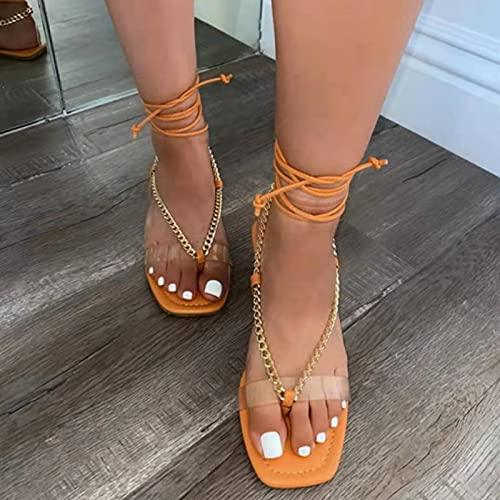Btytu Zapatos Mujer Sandalias Peep Toe Plano Casual Playa Verano Sandalias,C,36