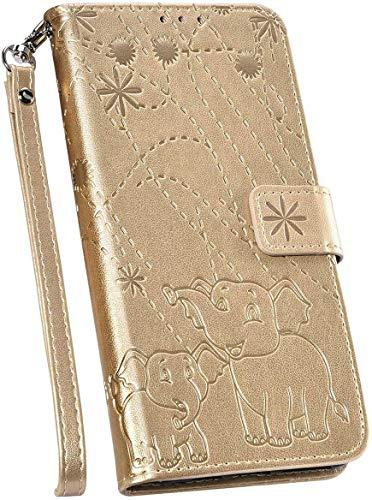 Ysimee Handyhülle kompatibel mit Samsung Galaxy S9 Leder, Einfarbig Brieftasche Schutzhülle mit Kartenfach Klappbar Stoßfest Kratzfest Hülle Leder Flip Handy Tasche Schale Stylish Case, Gold