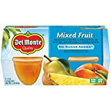 Del Monte Mixed Fruit Snack Cups in Water, No Sugar Added, 4 Ounce Cups (Pack of 6)