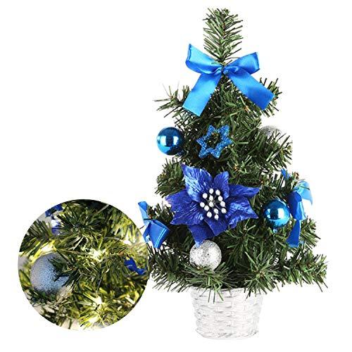 Happylohas Mini Albero di Natale, Mini Albero di Natale Artificiale, Albero di Natale in Fibra Ottica, per casa/Ufficio/Bar Commerciale, (30 cm/11,8 Pollici (pigne Blu)