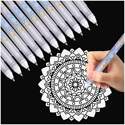 Dyvicl White Ink Pens - 12-Piece Fine Point Tip White Gel Pens for Black Paper Drawing, Illustration, Rocks Painting, Adult Coloring, Sketching Pens for Artists and Beginner Painters