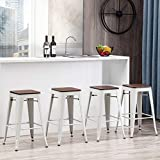 Alunaune 26' Metal Bar Stools Set of 4 Industrial Backless Counter Height Barstools Stackable Kitchen Patio Stool Wood Top-White
