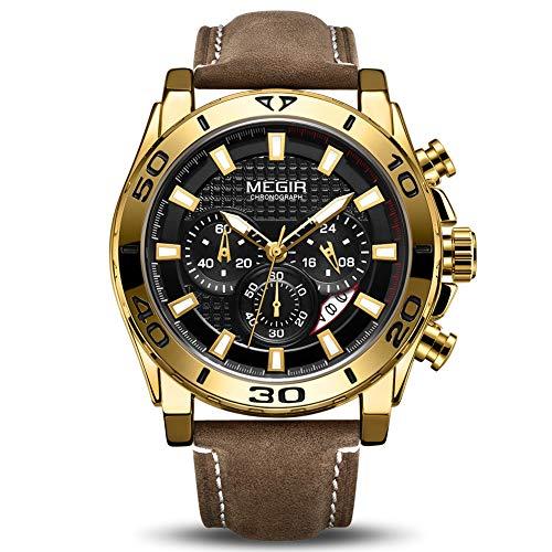 MEGIR Men's Business Analogue Chronograph Luminous Auto Calendar Quartz Wrist Watch with Stylish Brown Leather Strap Alloy Case 2094 Gold