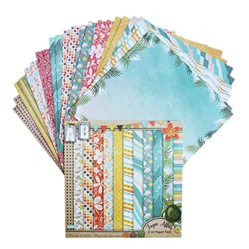24 vellen DIY Fotoalbum Plakboek Accountkaart Achtergrondpapier maken 6 inch Enkelzijdig patroonpapier, 16