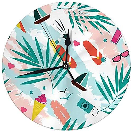 N/A Decoratieve wandklok Big 9,8 inch zomertijd met kleurrijke strandelementen Digitaal ronde klok