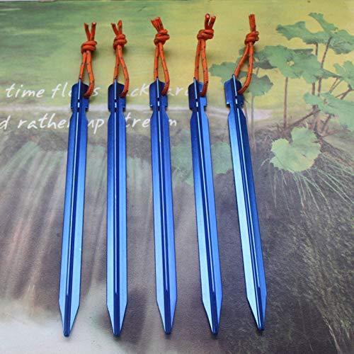 Qiuge 5 PCS-Aluminiumlegierung Tent Peg Nagel im Freien Reisen Zeltzubehör mit Seil, Länge: 18cm (schwarz). QiuGe (Color : Blue)