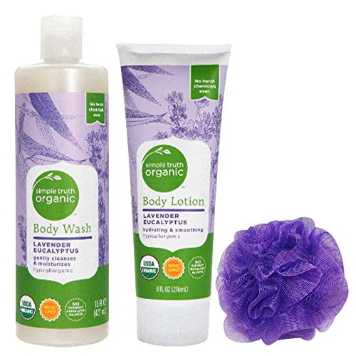 Simple Truth Organic Lavender Eucalyptus Body Lotion and Body Wash Set with Loofah