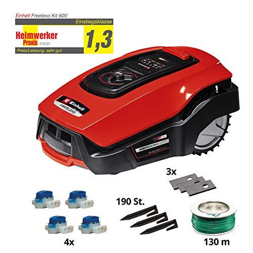 Einhell Mähroboter FREELEXO 500 m² Kit Power X-Change (Li-Ion, bis zu 500 m², Multizonen-Modus, bis 35% Steigung, Appsteuerung d. Bluetooth, Stoß-/Kipp-/Hebe-/Regensensor, inkl. Installations Kit)