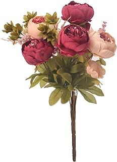 COOlCCI 42cm Artificial Fake Flowers Silk Artificial Peony Bridal Wedding Bouquet for Home Garden Party Wedding Decoration