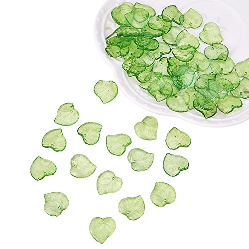 PandaHall 100Pcs Frosted Style Leaf Shape Acrylic Pendants Size 15x15x2mm Green