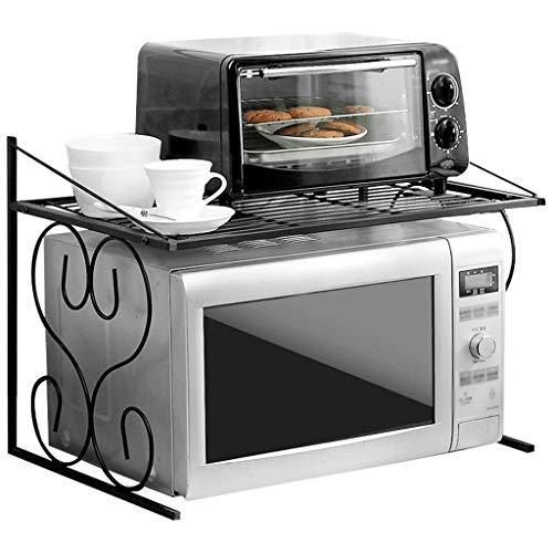 WWJHH-Kitchen shelf Estante de Cocina para microondas, se Puede Montar con Pintura de Hierro de Buena Estabilidad, 1 Soporte de Piso Negro 21.614.715.7 Pulgadas