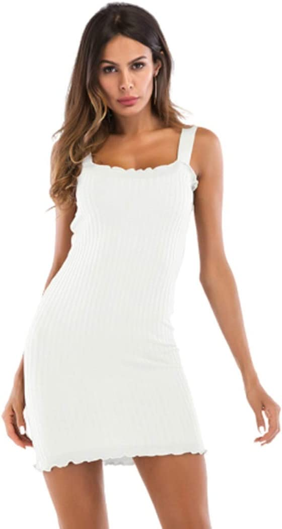 Womens Clothing Summer Slim Package Hip Solid Color Suspender Dress for Women Womens Clothing (Color : White, Size : M)
