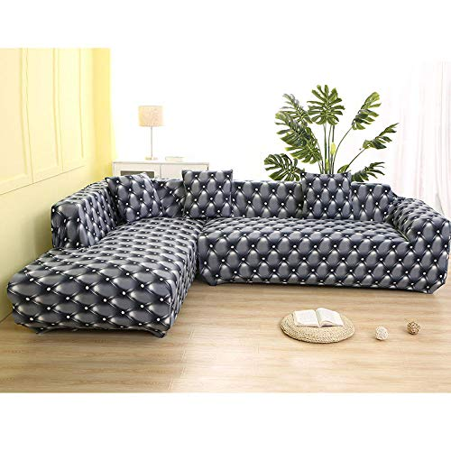 AMZTP Fundas De Sofas Chaise Longue Elastic Sofa Cover Cotton It Needs Order 2 Pieces Covers For L-Shape Corner Sectional Sofa Cover For Living Room Solid Color@Color 17_4-Seater 235-300Cm